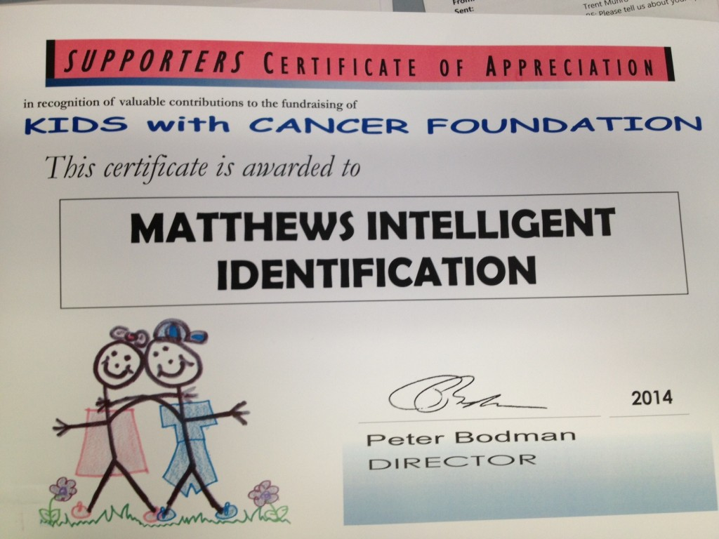 Matthews Kids with Cancer certificate